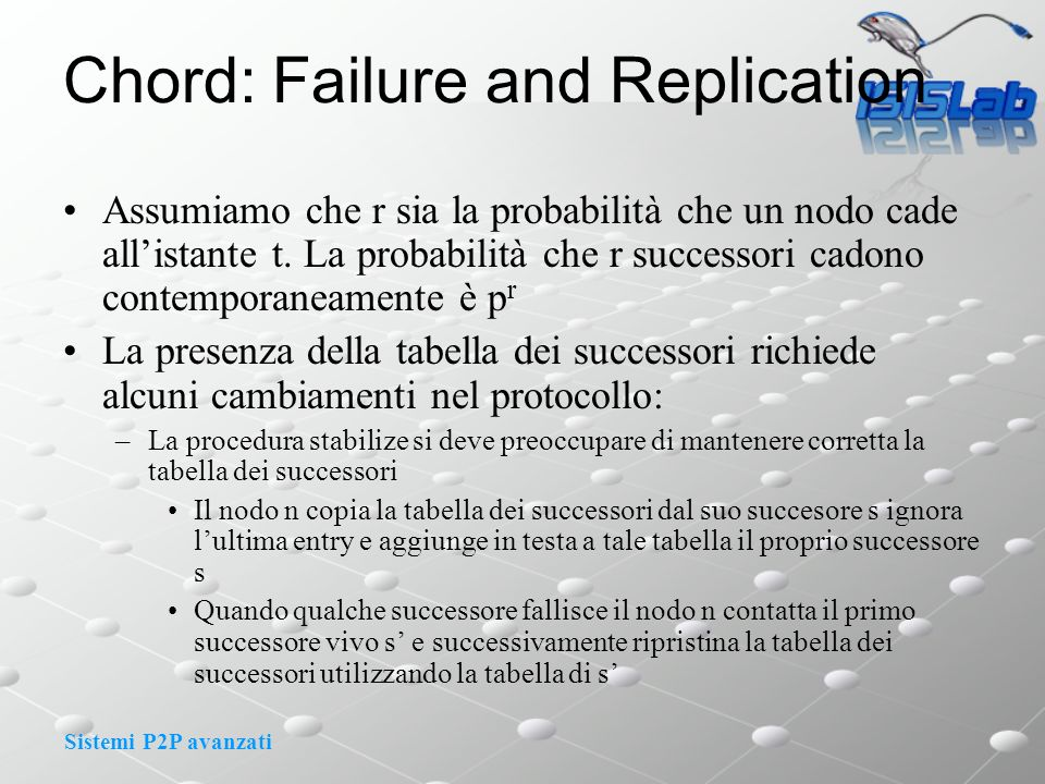 Sistemi P2P avanzati Chord: Failure and Replication Assumiamo che r sia la probabilità che un nodo cade allistante t.