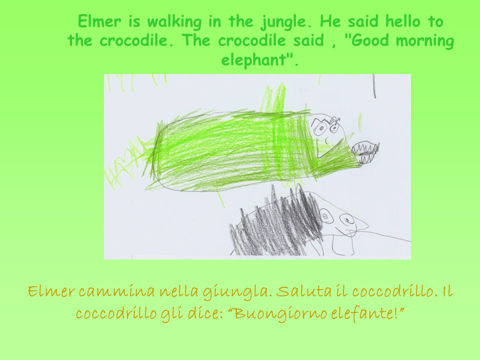 Elmer is walking in the jungle. He said hello to the crocodile.