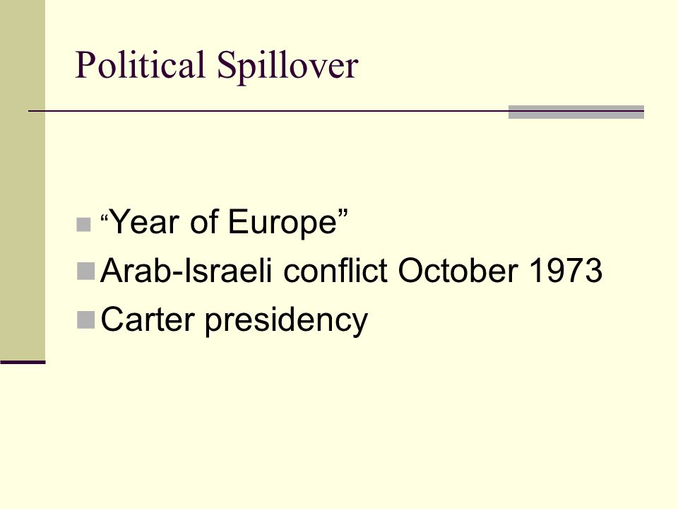 Political Spillover Year of Europe Arab-Israeli conflict October 1973 Carter presidency