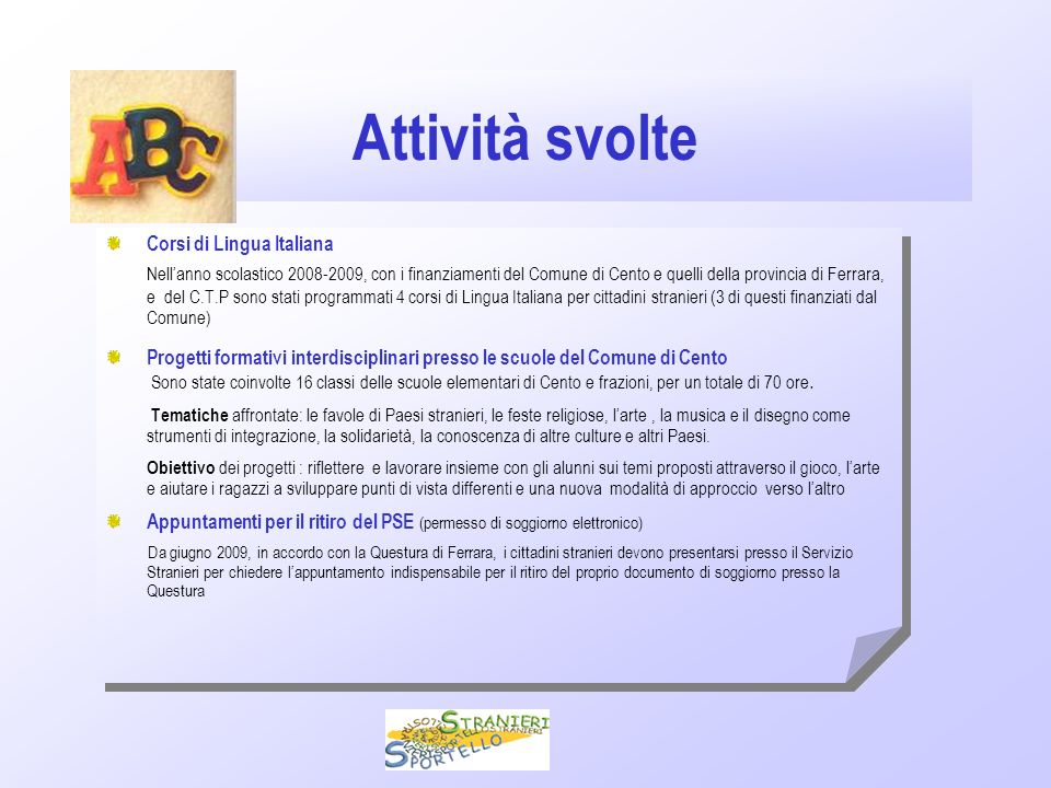 Relazione 2009 Servizio Sportello Stranieri Comune di Cento. - ppt ...
