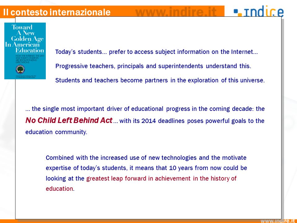 Il contesto internazionale Todays students… prefer to access subject information on the Internet… Progressive teachers, principals and superintendents understand this.