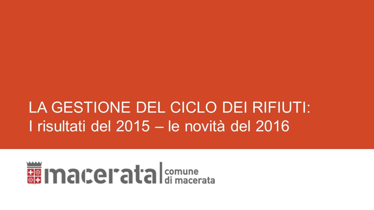 1 LA GESTIONE DEL CICLO DEI RIFIUTI  I risultati del 2015 – le novità del  2016 15e99aa2300