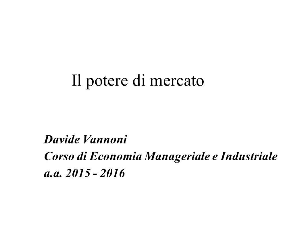 Il Potere Di Mercato Davide Vannoni Corso Di Economia Manageriale E