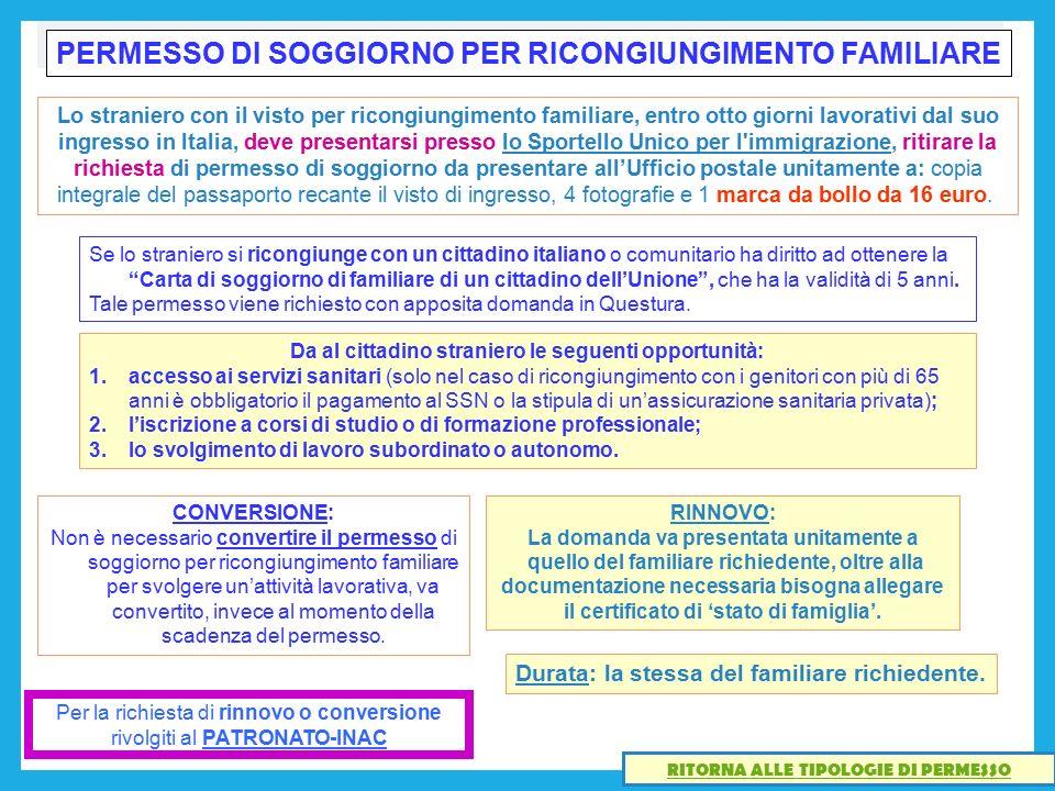 Beautiful Carta Di Soggiorno Per Ricongiungimento Familiare Pictures ...