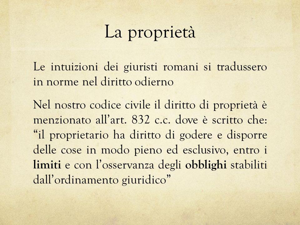 La Proprietà Le Intuizioni Dei Giuristi Romani Si Tradussero In Norme Nel  Diritto Odierno Nel Nostro