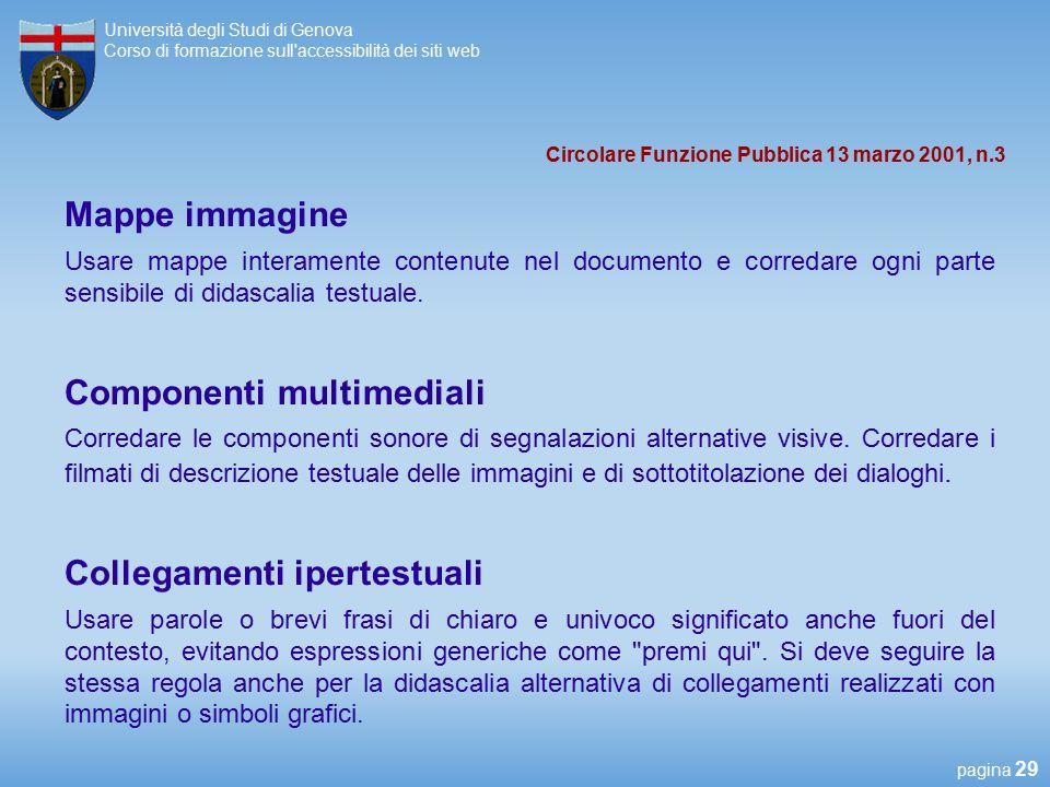 Università collegamento sito Web
