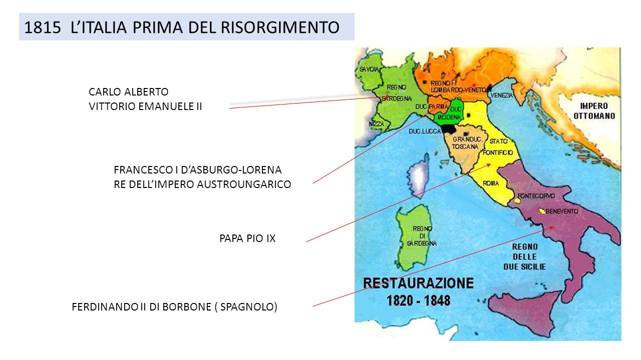 Cartina Dell Italia Nel 1815.1815 L Italia Prima Del Risorgimento Carlo Alberto Vittorio Emanuele Ii Francesco I D Asburgo Lorena Re Dell Impero Austroungarico Ferdinando Ii Di Borbone Ppt Scaricare