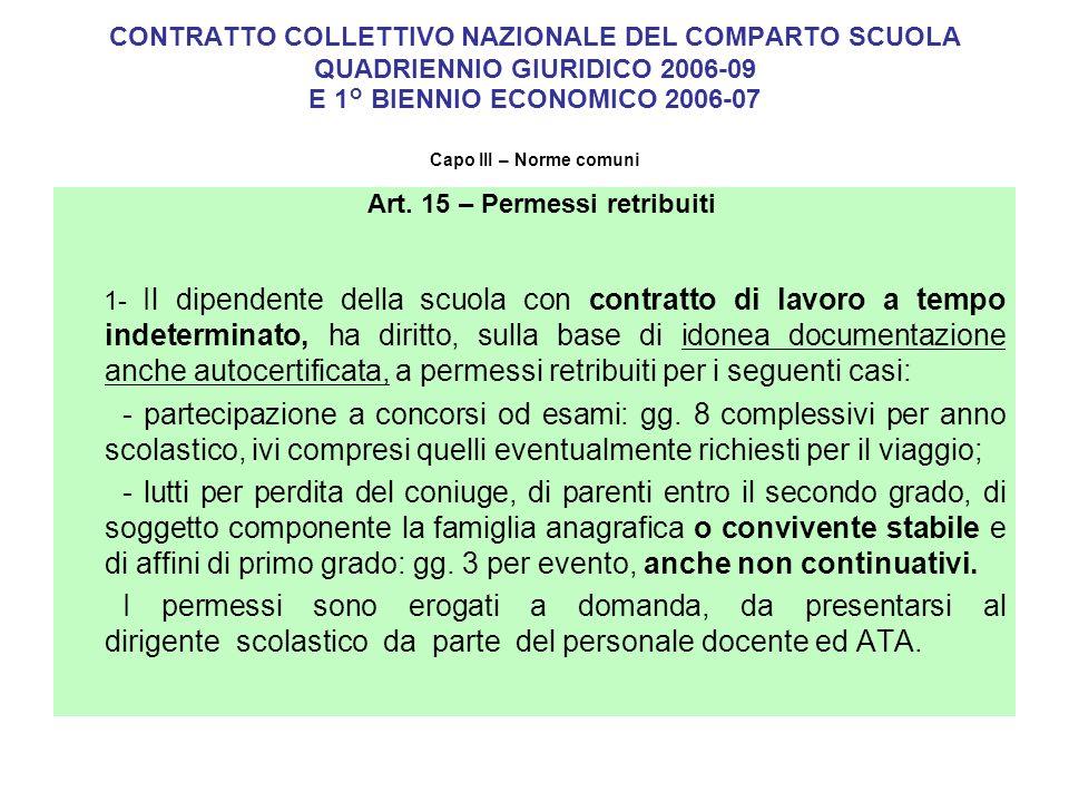 permessi retribuiti art 18 ccnl comparto ministeri